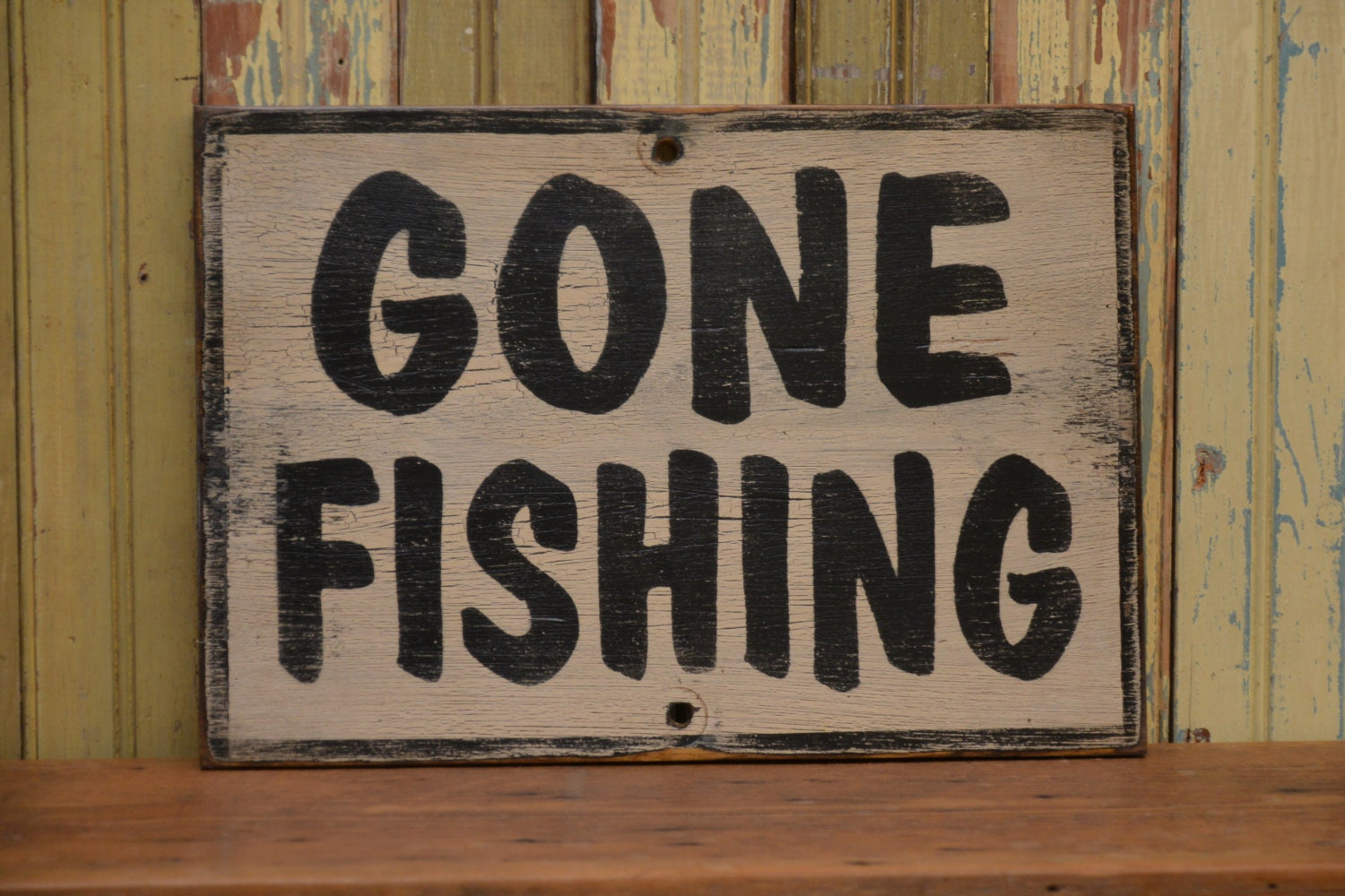 Items similar to gone fishing sign made from reclaimed for Gone fishing sign