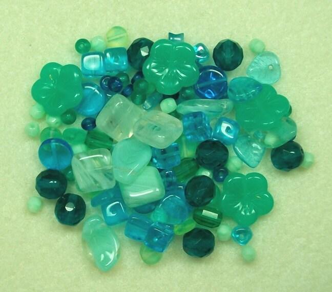 Press Glass - Caribbean mix - aqua's, teals, and mint greens PG616 - furbabiesgallery