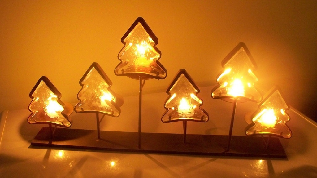 Heavy Iron and Glass Fireplace Pine Trees Candle Holder - TabletopsandMore