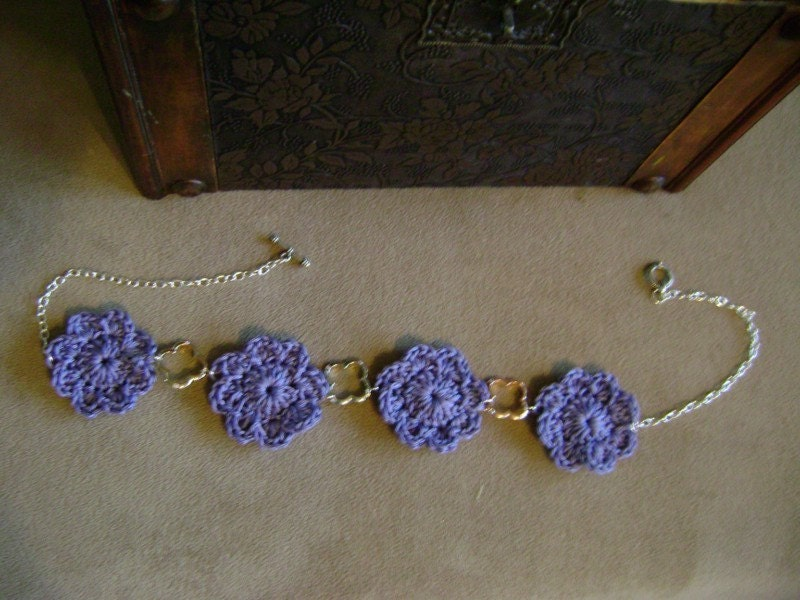 lilac crochet flower chain necklace
