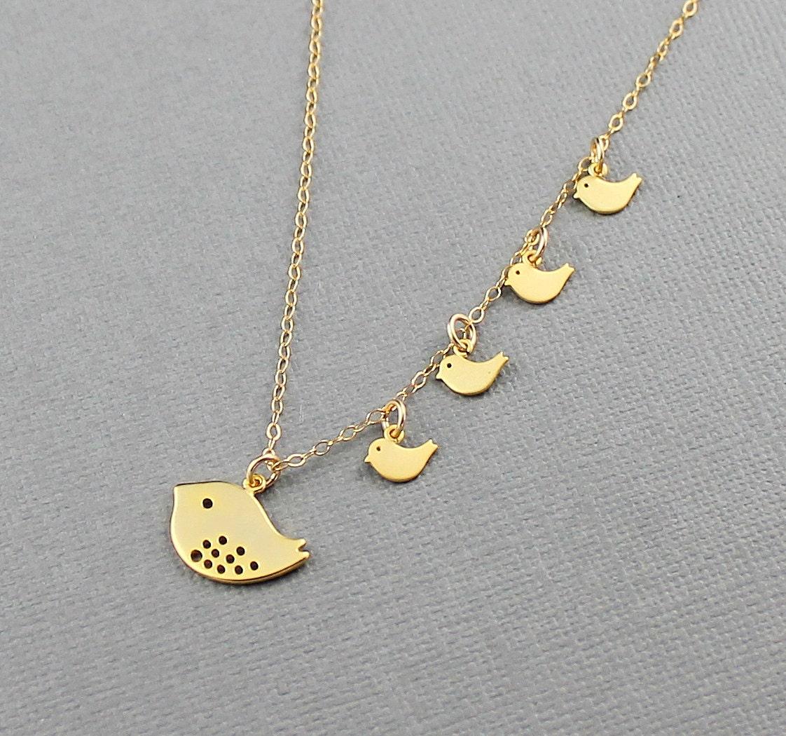 bird family necklace gold baby bird necklace by ladykjewelry