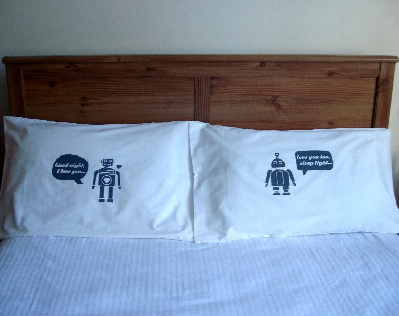 i heart robot pillow case set - light grey