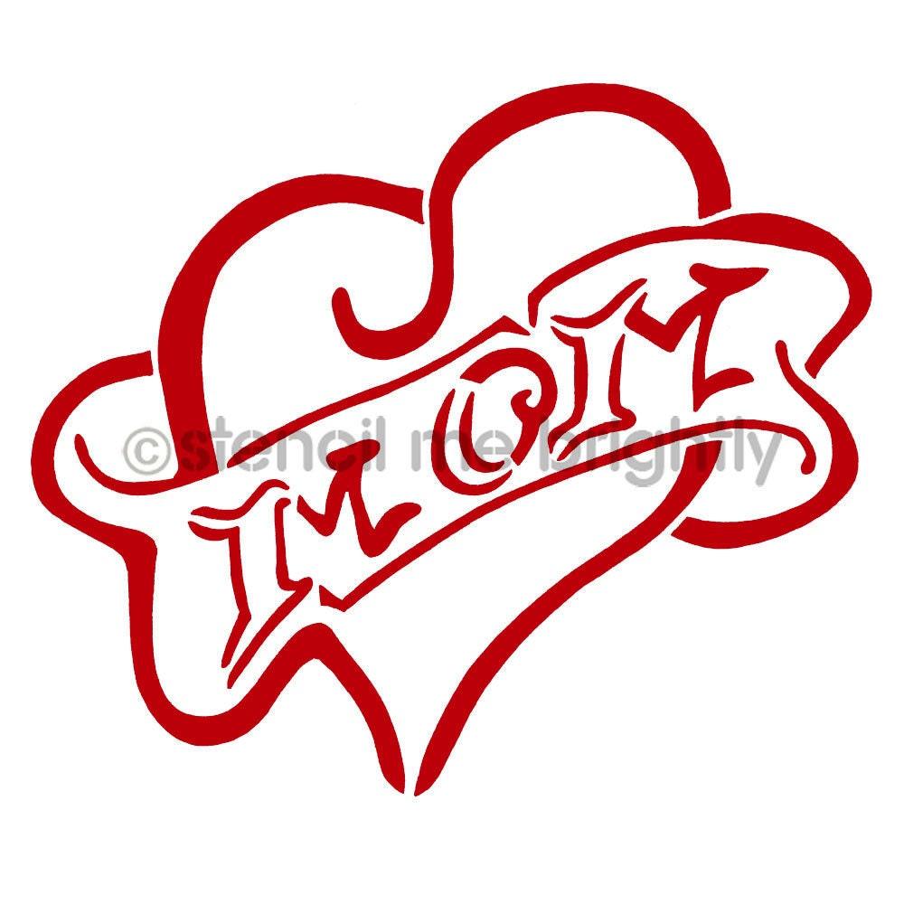 I Heart Mom Tattoo Stencil