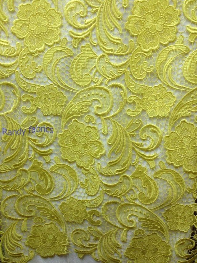 Yellow elegant fashion hollow retro embroidery polyester wedding dress