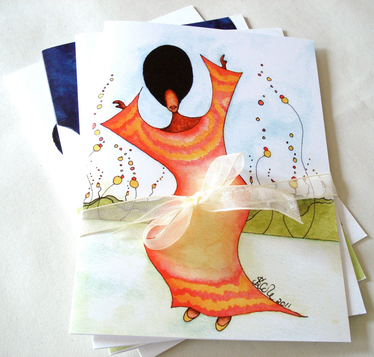 Pack of 4 African American Watercolour Greeting Cards