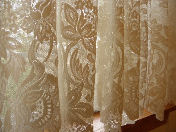 vintage new orleans cream lace curtain set by