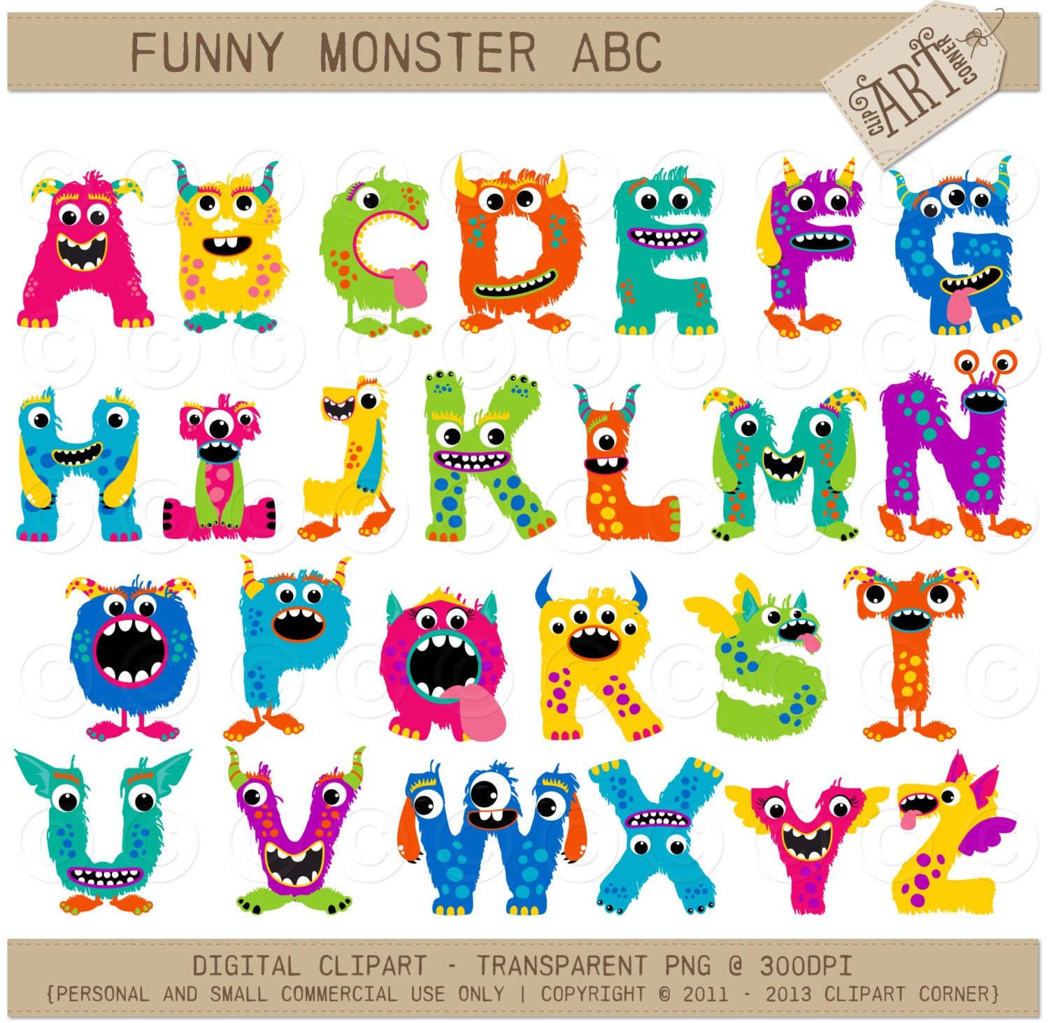 Alpha Clipart - Bright, Fun Monster ABC / Alphabet (AC-6559) - Instant ...