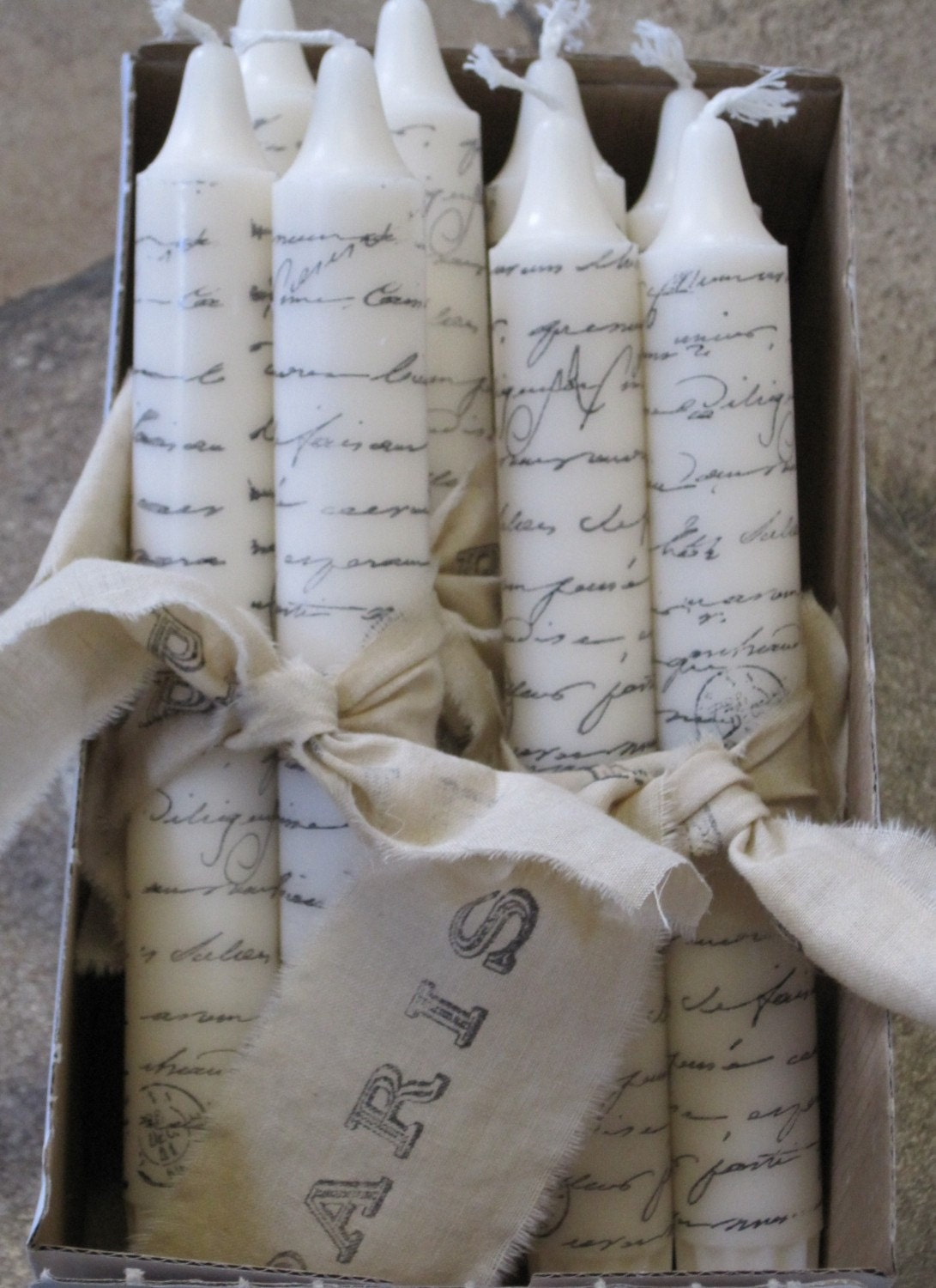 Paris  Script Hand-Stamped Shabby Chic Candles