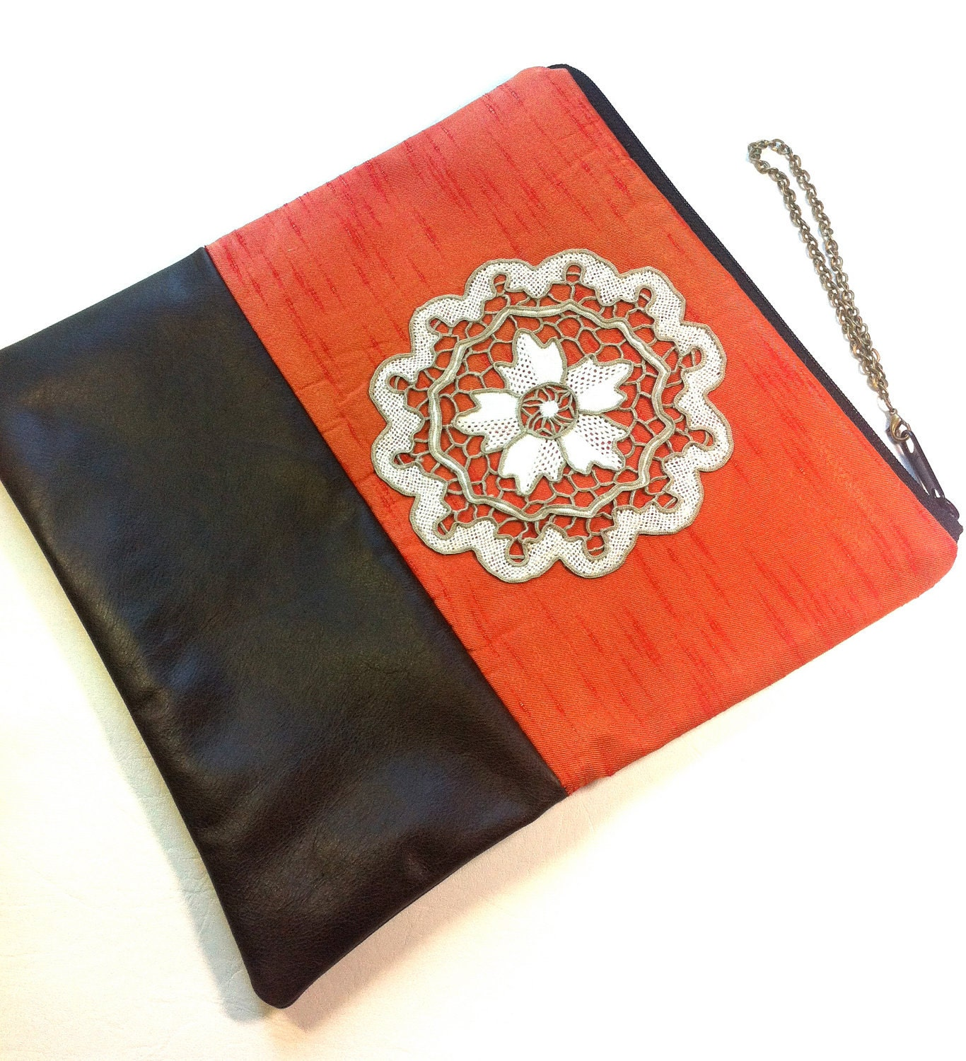 Recycled Leather and Reclaimed Fabric Square Foldover Clutch,  Brown and Orange - hoshiidesigns