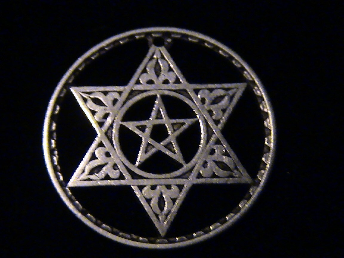 Sterling Silver Fairy Star Pentagram With Stone Pendant : The