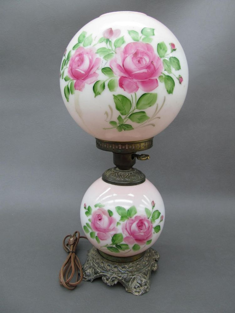 Items Similar To Vintage Hand Painted Rose Double Globe
