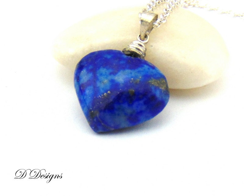 Heart Necklace Blue Lapis Necklace Blue Stone Necklace Sterling Silver Necklace Heart Jewellery Valetines Gifts