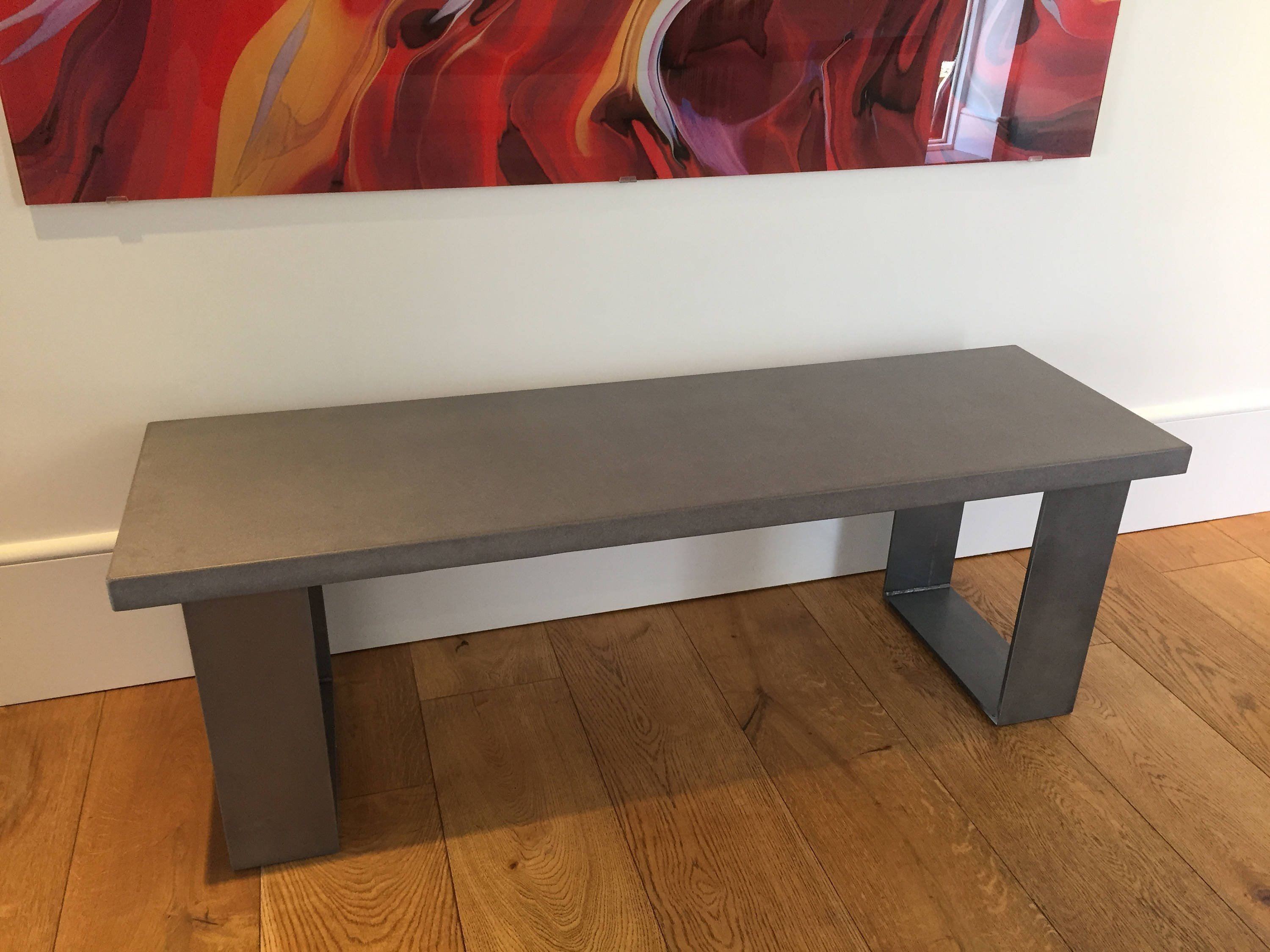 Concrete Industrial Bench in Cool Grey  with flat 8mm thick Steel legs  Clear Coat  Seat  Chair