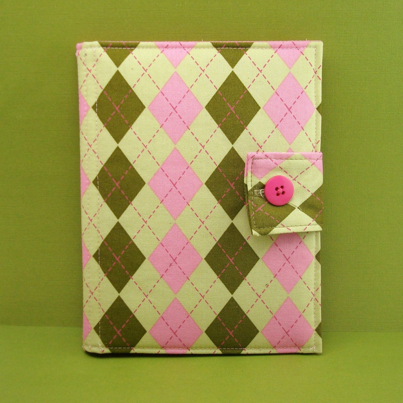 Kindle or Nook Cover (Preppy Green and Pink Argyle)