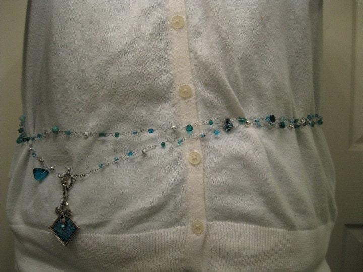 Crocheted Necklace--aqua