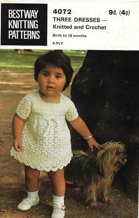 Three Dresses for Baby Two Knit  One Crochet Original Vintage Pattern Bestway 4072