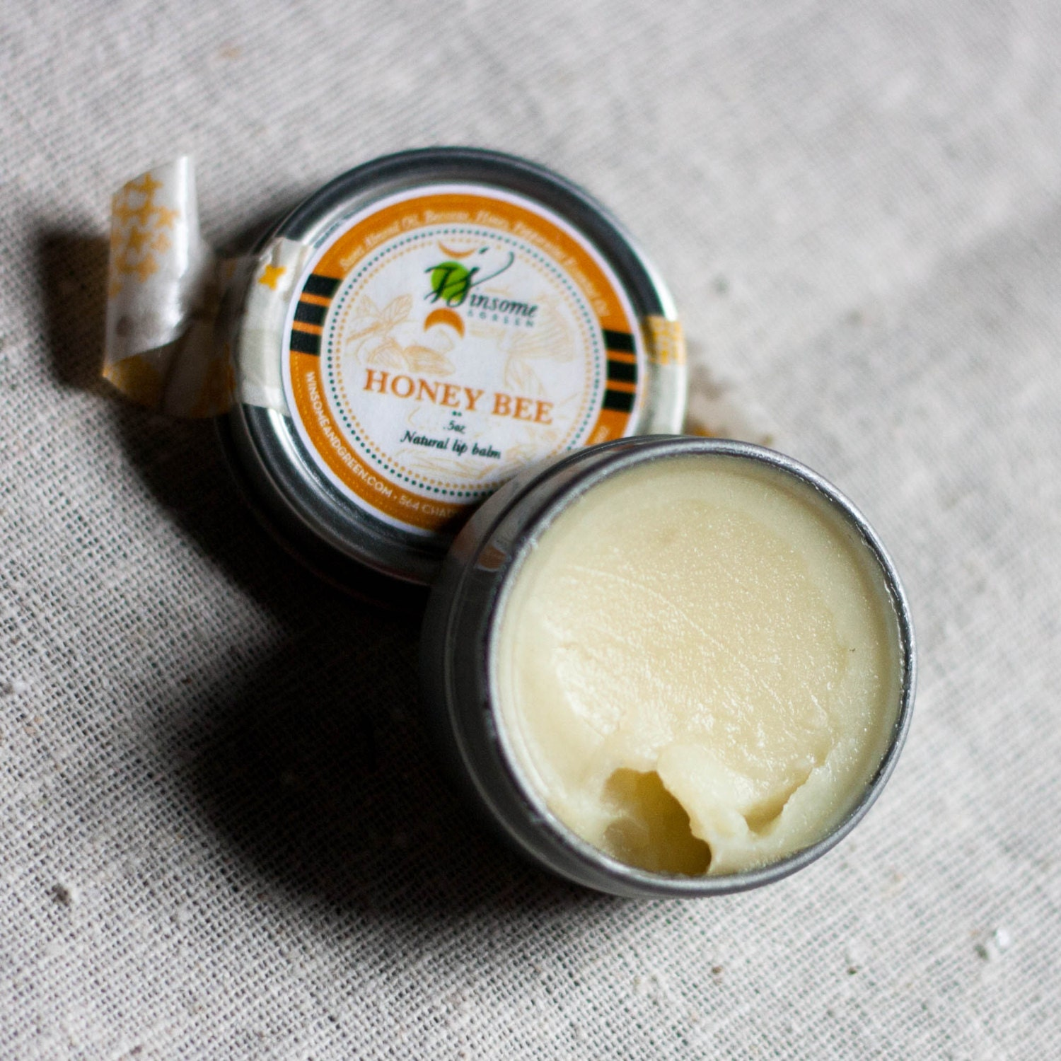 Natural Lip Balm Tin - Honey and Cooling Peppermint - Honey Bee / geometric eco friendly orange yellow - WinsomeGreen