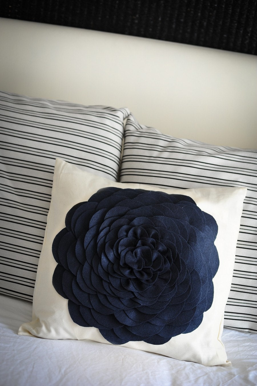 FREE SHIPPING Navy/ Indigo felt flower pillow cover 20x20