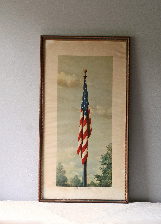 Vintage Litho Of American Flag Framed By Modishvintage On Etsy