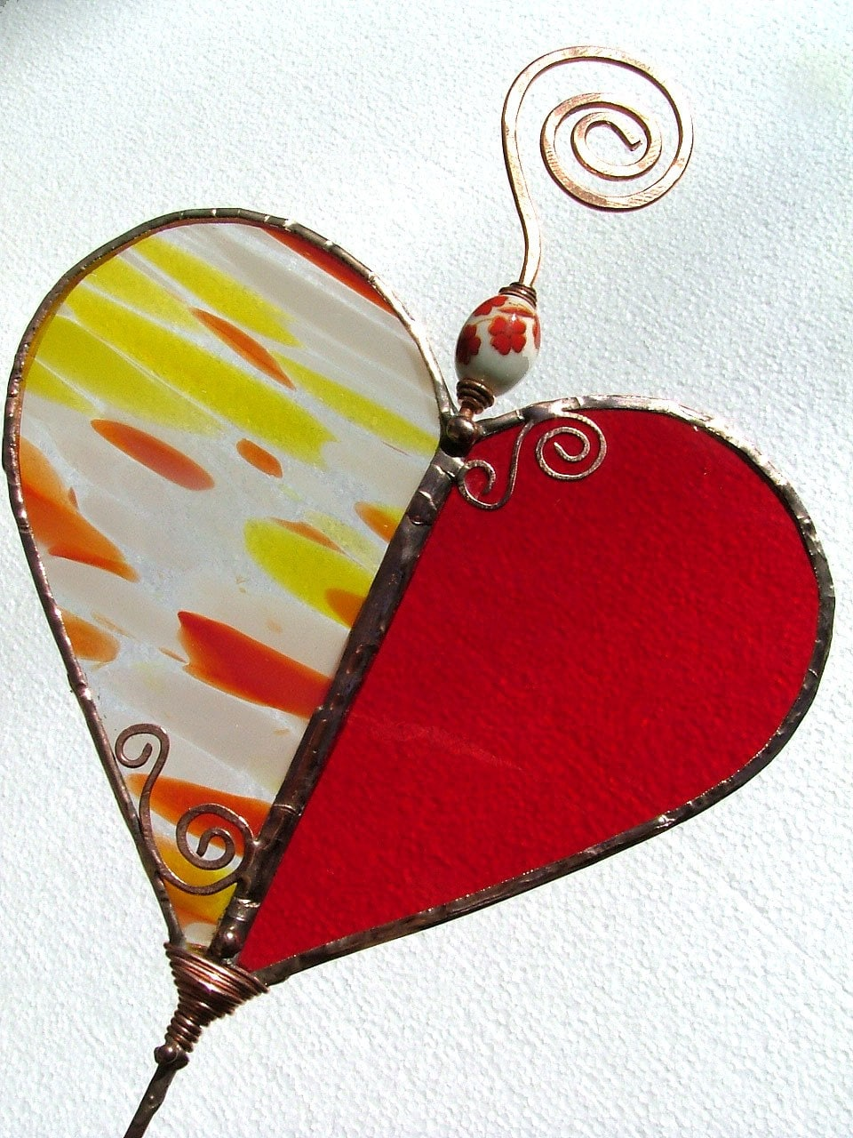 Stained Glass Plant Stake - Heart Felt