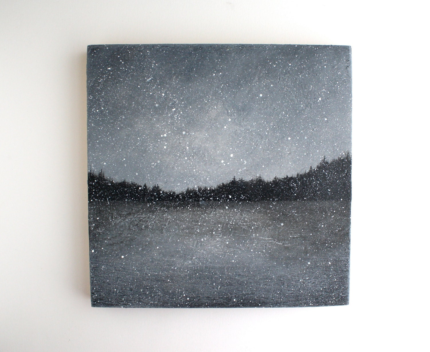 Snowfall - Black and White Oil Painting - 8 x 8