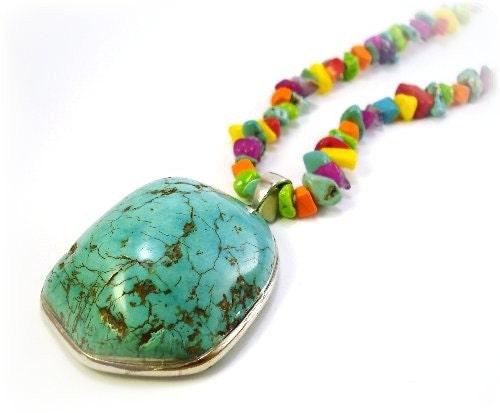 Large Chunky Turquoise Stone Necklace Set...FREE SHIPPING