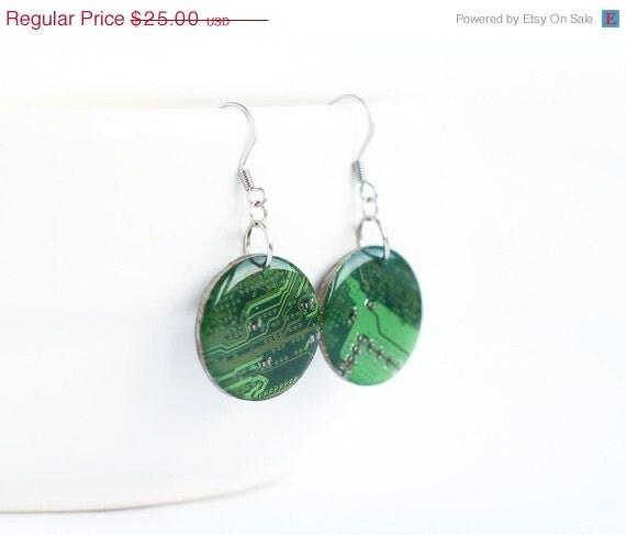circuit board earrings geeky green earrings by recomputing