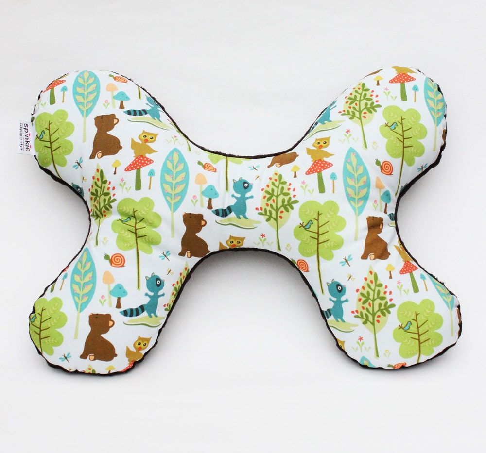 The Butterfly Pillow - Infant to Adult Head and Neck Support Pillow in Woodland Friends with Plush Brown Minky