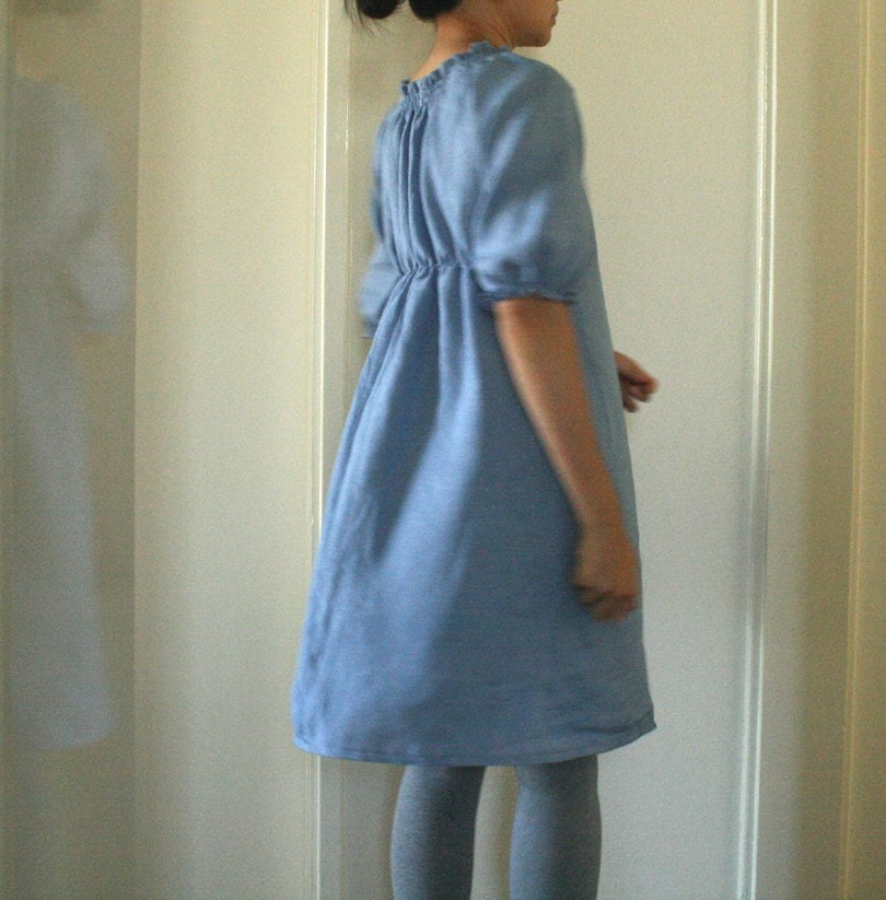 w. LINEN DRESS  in french blue. size small. last piece. womens and maternity clothing. spring. handmade by pamelatang - pamelatang