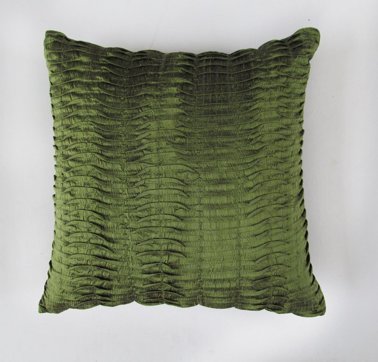olive green pillow 18 inch silk decorative by Comfyheavenpillows