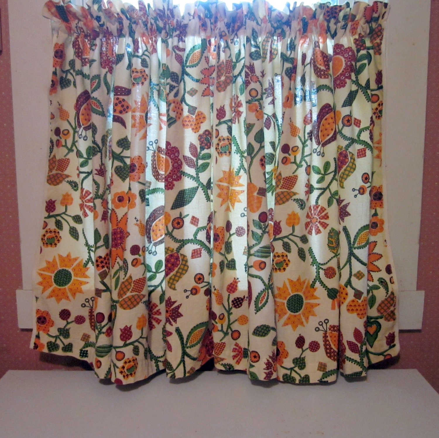 Vintage cafe curtain pair 1970s groovy by simplysuzula on etsy