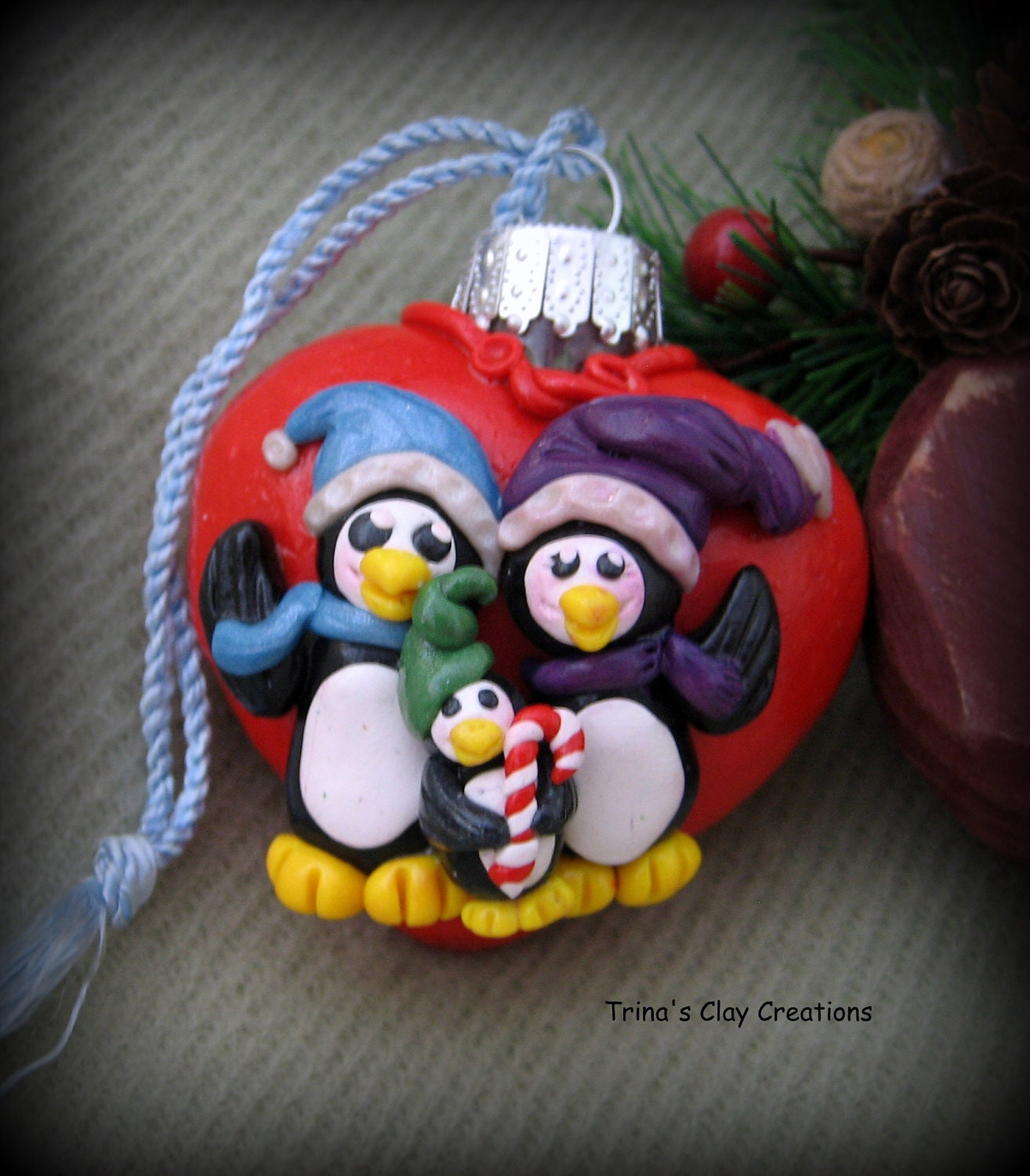 Penguin Family Christmas Ornament, Polymer Clay Ornament, Penquin