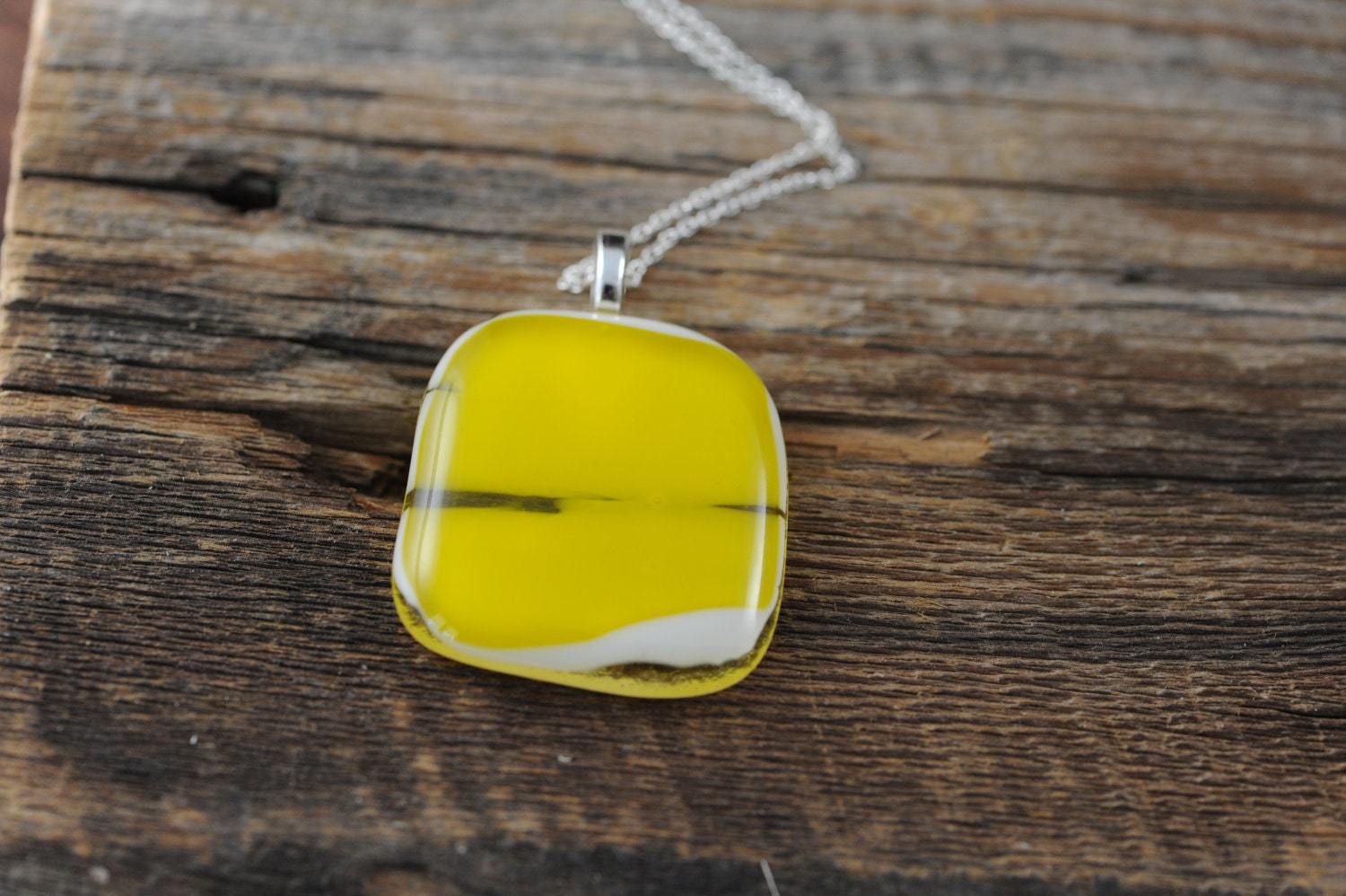 Bright Yellow Necklace -  Yellow Pendant - Yellow Pendant Necklace - Fused Glass Jewelry - I HEART YELLOW TOO