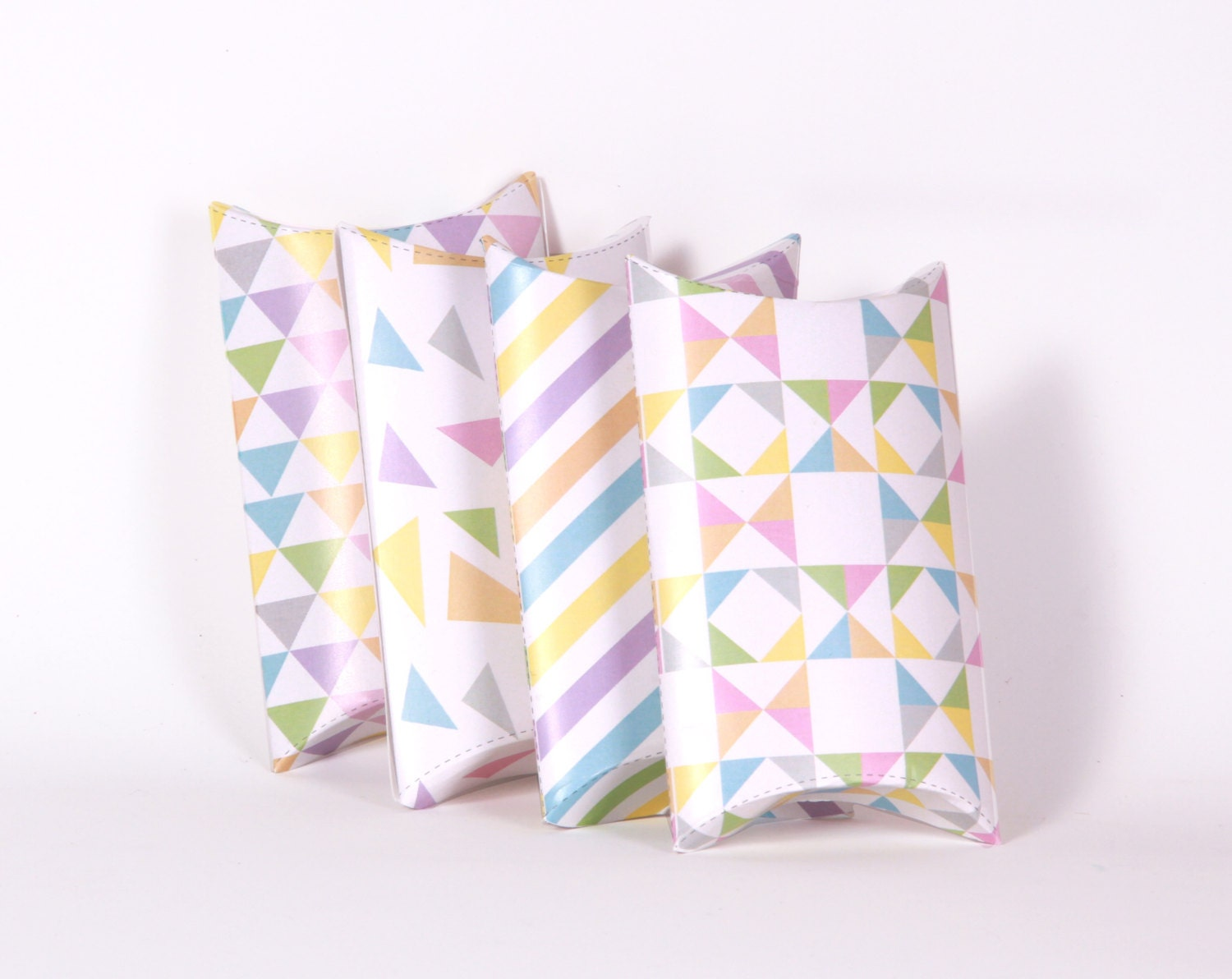 Geometric Pattern Printable Pillow Boxes, Favors, Gifts -  Triangle, Chevron, Rainbow Pastels, Party Decorations Candy - Instant Download