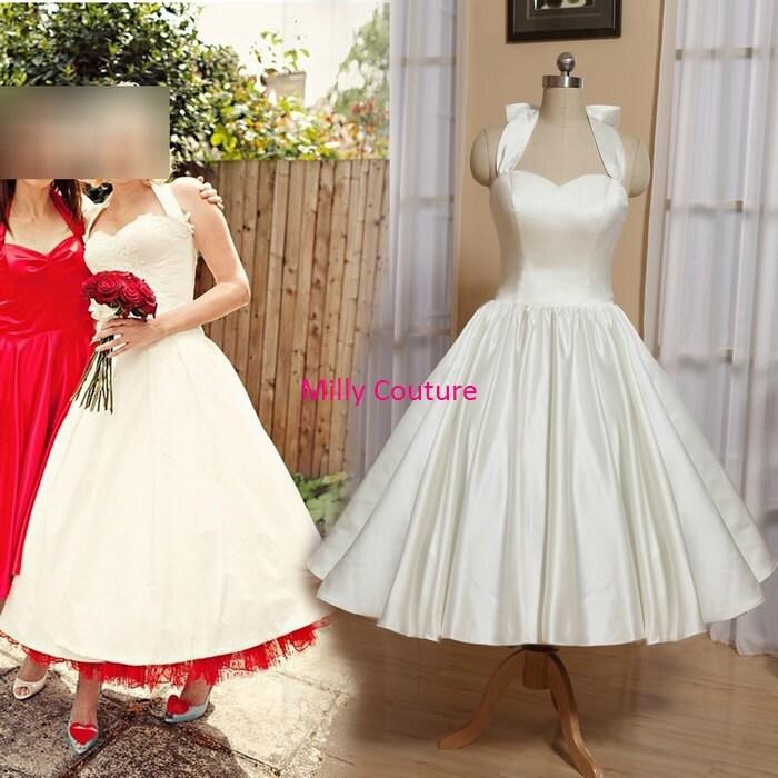 Sweetheart Halter Tea Length Wedding Dress Marilyn By