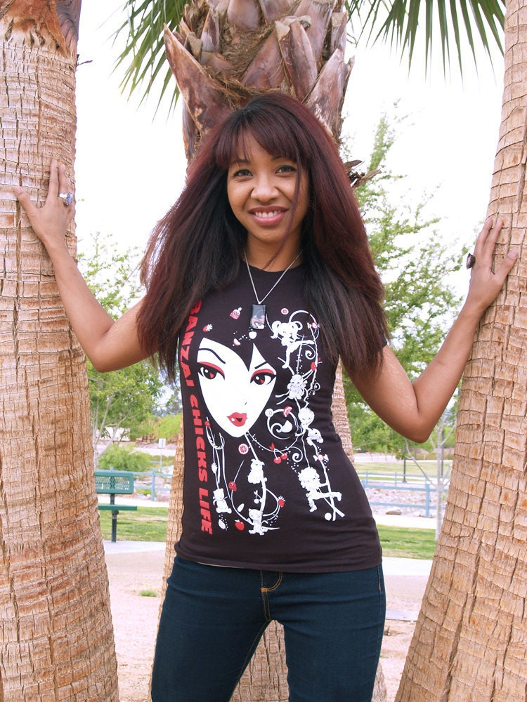 Kawaii Silkscreened Ladies Black Tshirt - Girls Face with Panda Cat Bulldog - Graphic Tee - Fitted