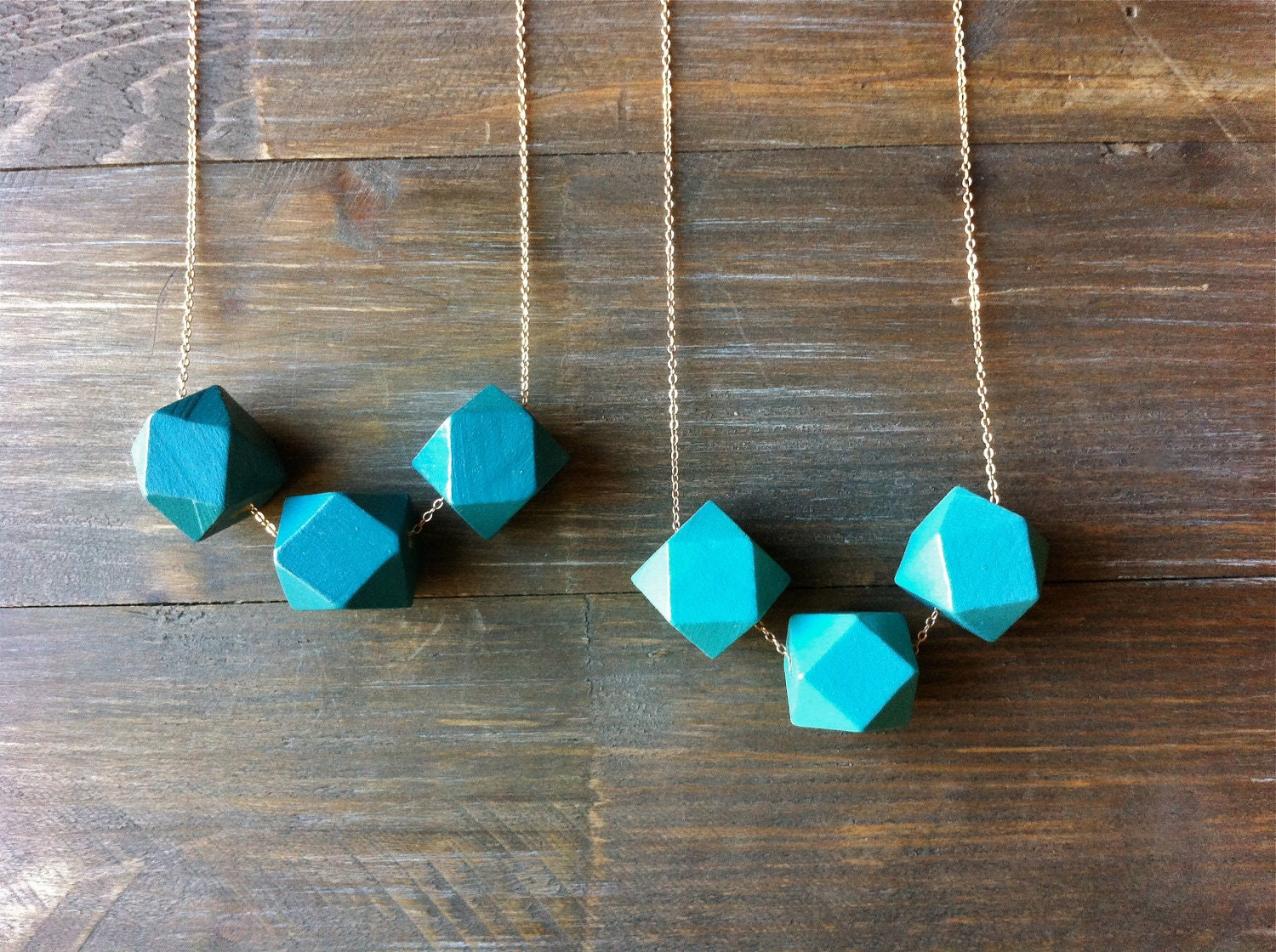 Midnight Teal Geometric Wood Necklace / Modern Blue Minimalist Jewelry / Rustic Boho Style - FableAndLore