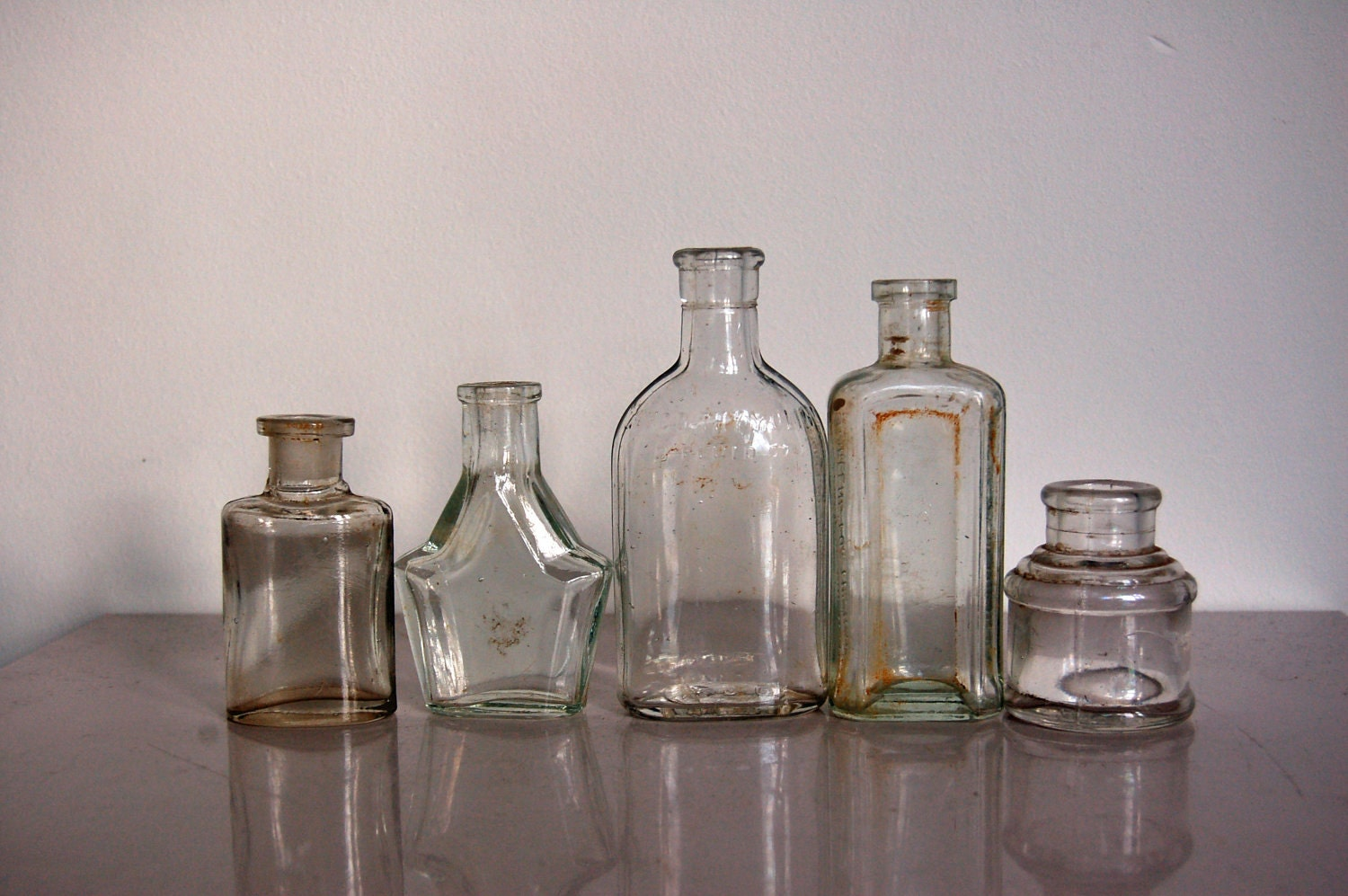 Small clear glass bottles vintage british household by for Retro glass bottles
