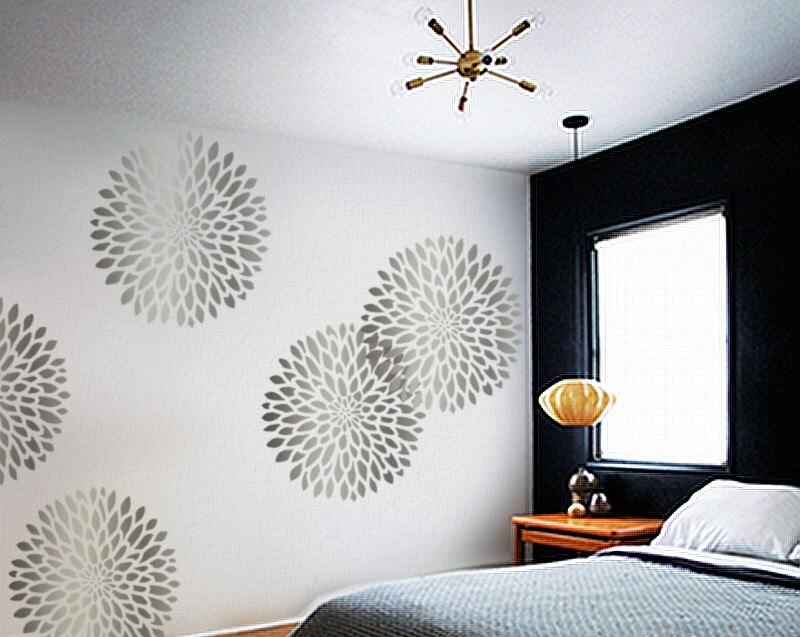 LARGE Chrysanthemum - Wall STENCIL - Easy, Reusable Modern Wall Art