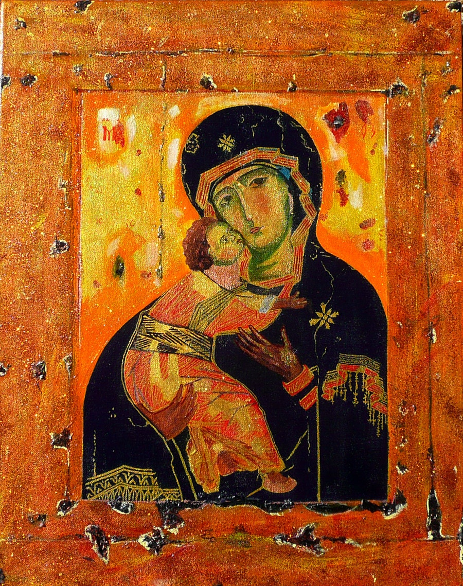 the virgin of vladimir Three times a year the russians hold feasts in honour of the vladimir virgin, considered a sacred treasure of the russian people it is thought of as a byzantine moon in the firmament of the russian church and the very best of its icons.