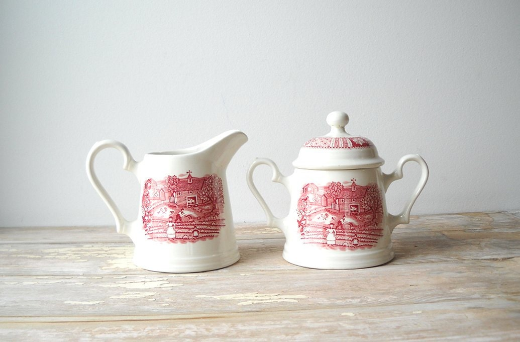 Johnson Bros Pink Transfer Creamer & Sugar Patchwork Farm - MomsantiquesNthings