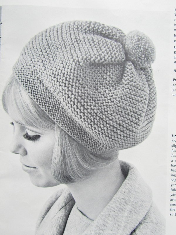 Free Knitting Pattern Vintage Hat : Knitted Hat Pattern 1960s Vintage Hat by vintageknitcrochet
