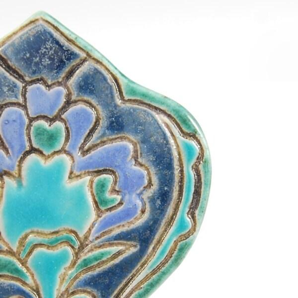 Oriental brooch-  ceramic, glazed, pin, violet,oriental,pattern,blue,emerald,turquoise,flower,leaf, - CeramicFullOfColours
