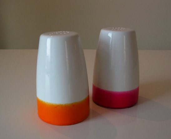 Dipped Salt and Pepper Shakers - Pink/Orange