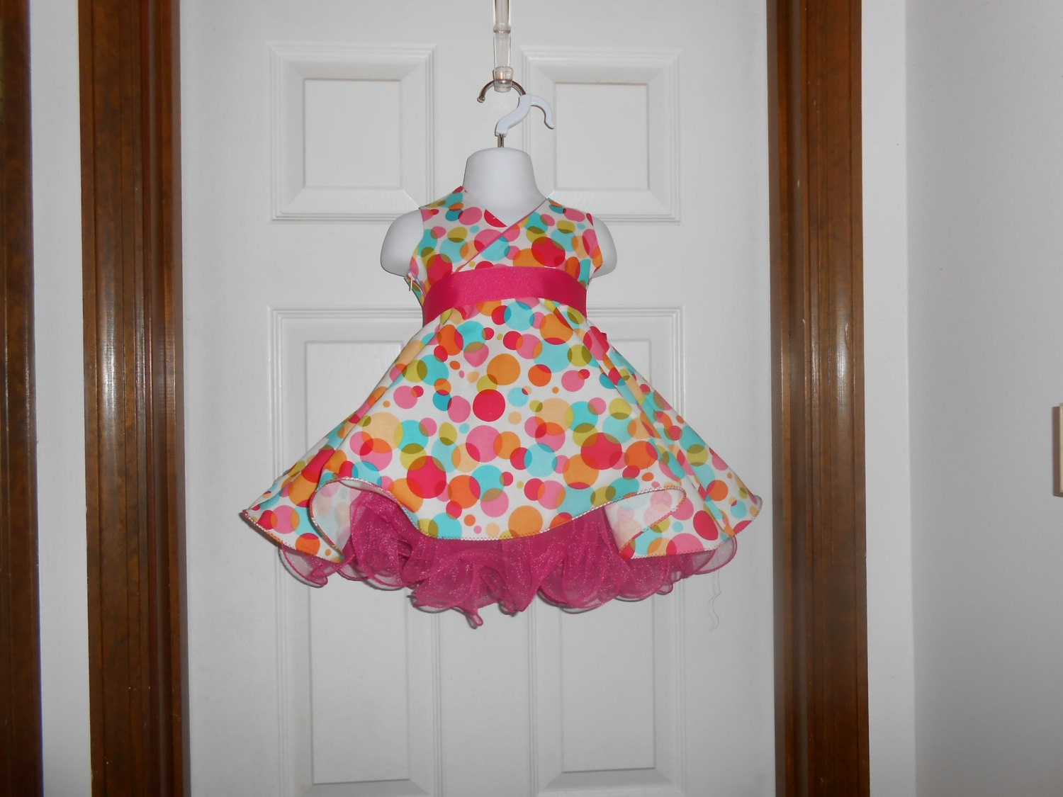 Pageant, Princess Bubble Dot Birthday  Dress 6m, 12-18mth, 2T, 3T, 4T, 5T - PatrioticPrincess2