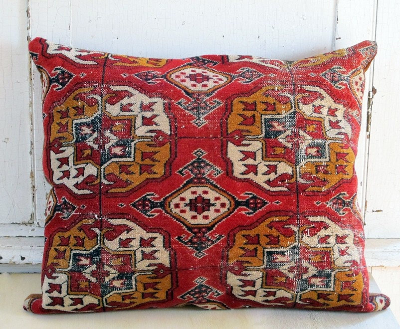 Kilim or Oriental Rug Pillow. Gold, Red, Cream, and a bit of Navy