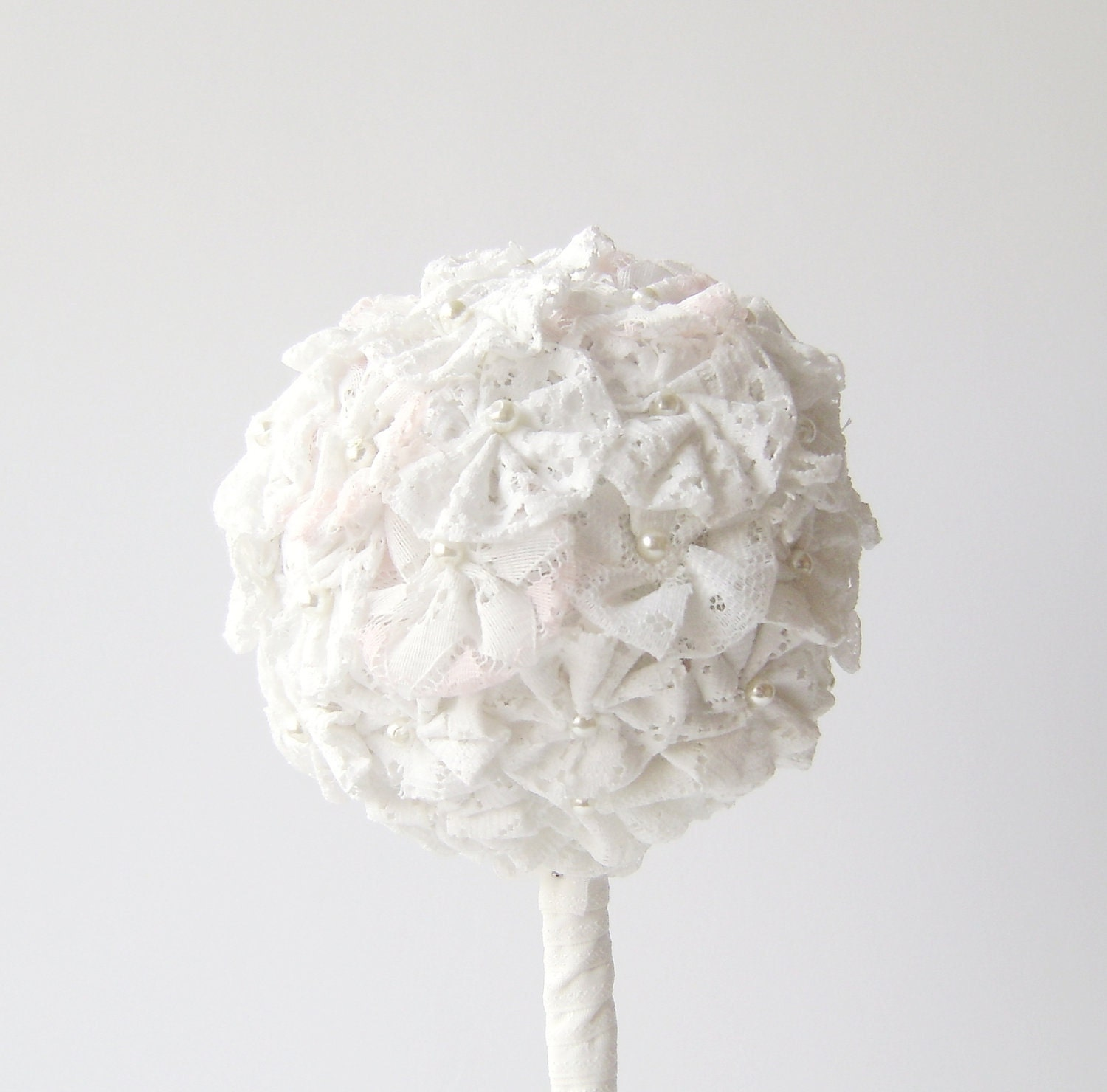 Wedding Flower Decoration / White Lace Flowers Topiary Ball / Shabby chic Decor - NataliaDecor
