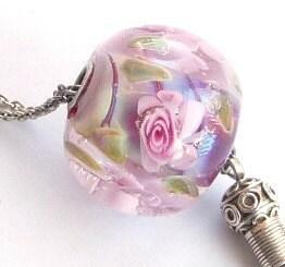 Sale Sale Sale Pink roses garden bead / SRA - Beadsagogo