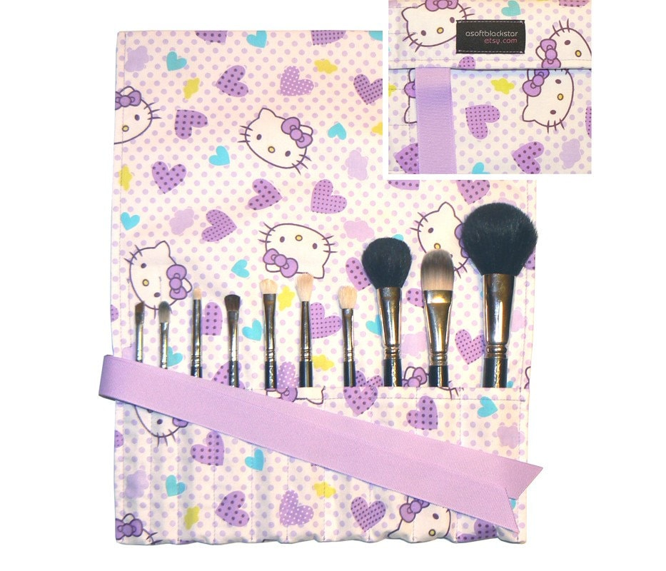 Hello Kitty makeup brush roll organizer - kawaii japanese import