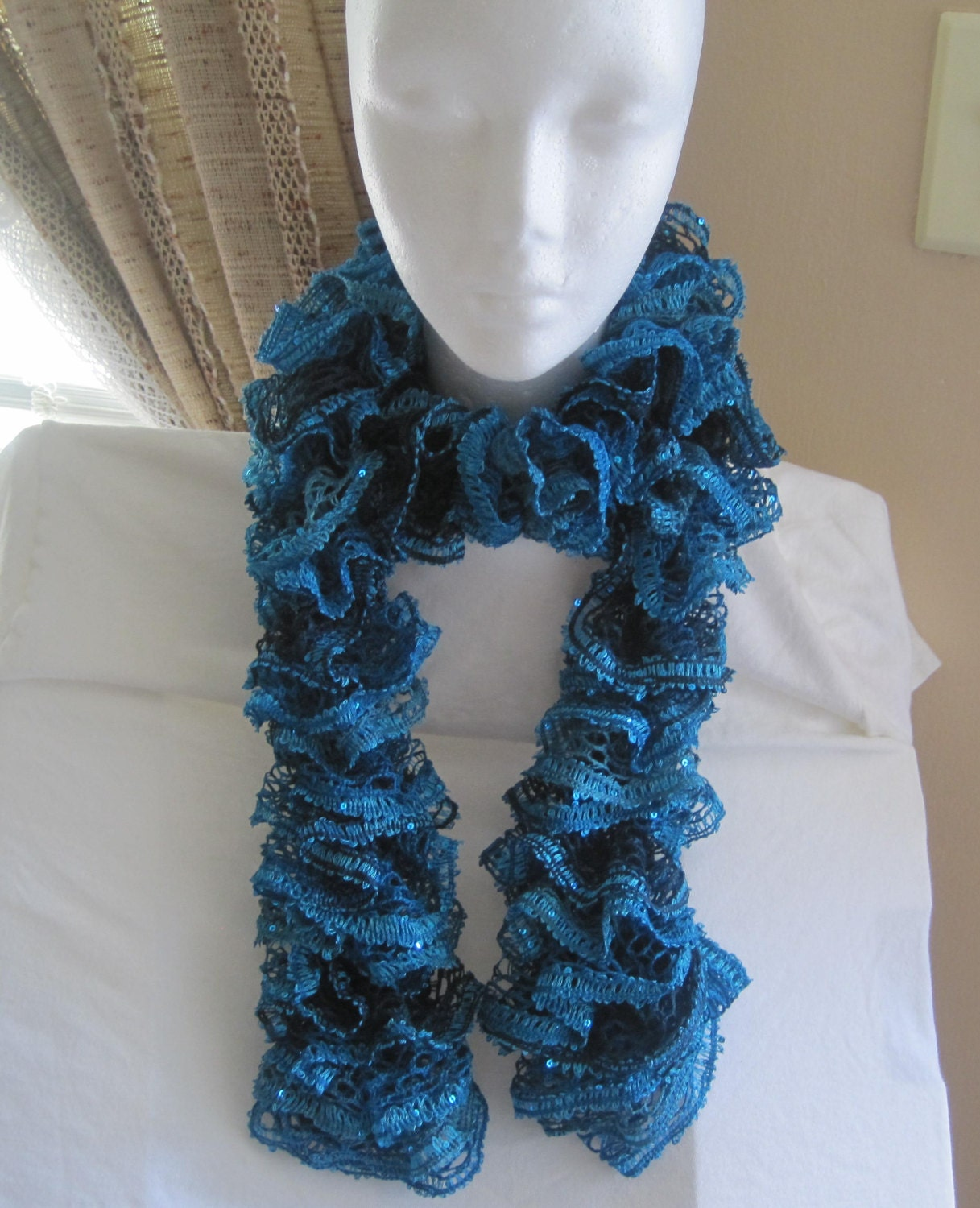 Dachshund Jumper Knitting Pattern : Items similar to Knit Ruffle Sashay Scarf in Teal and Blue with Sequins on Etsy